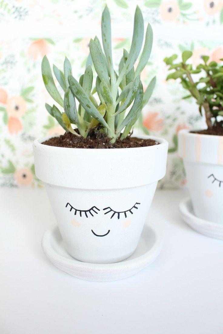 Gros Pot Fleur Plastique tutoriel de pots de plantes à visage peint bricolage par