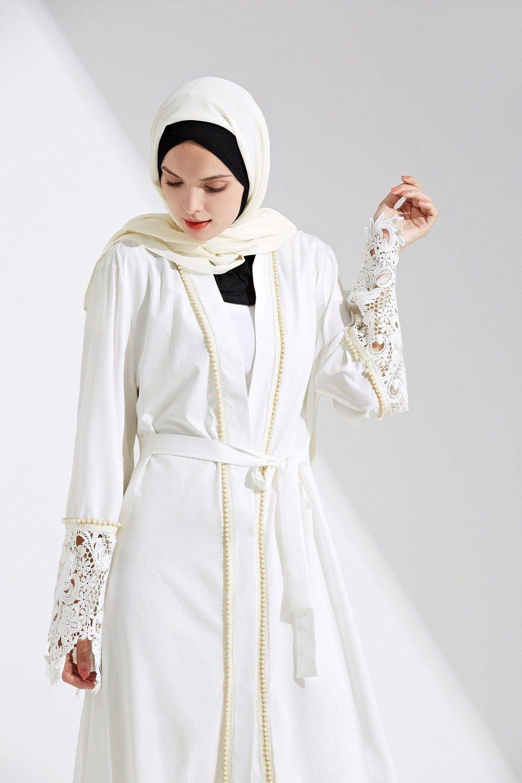 8f5cb5b52 Muslim Open Abaya Maxi Dress Lace Beading Jilbab Cardigan Long Robe ...