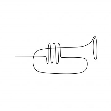 Picture Of A Continuous Line Of Trumpet Musical Instruments, Song, Player, Art PNG and Vector with Transparent Background for Free Download
