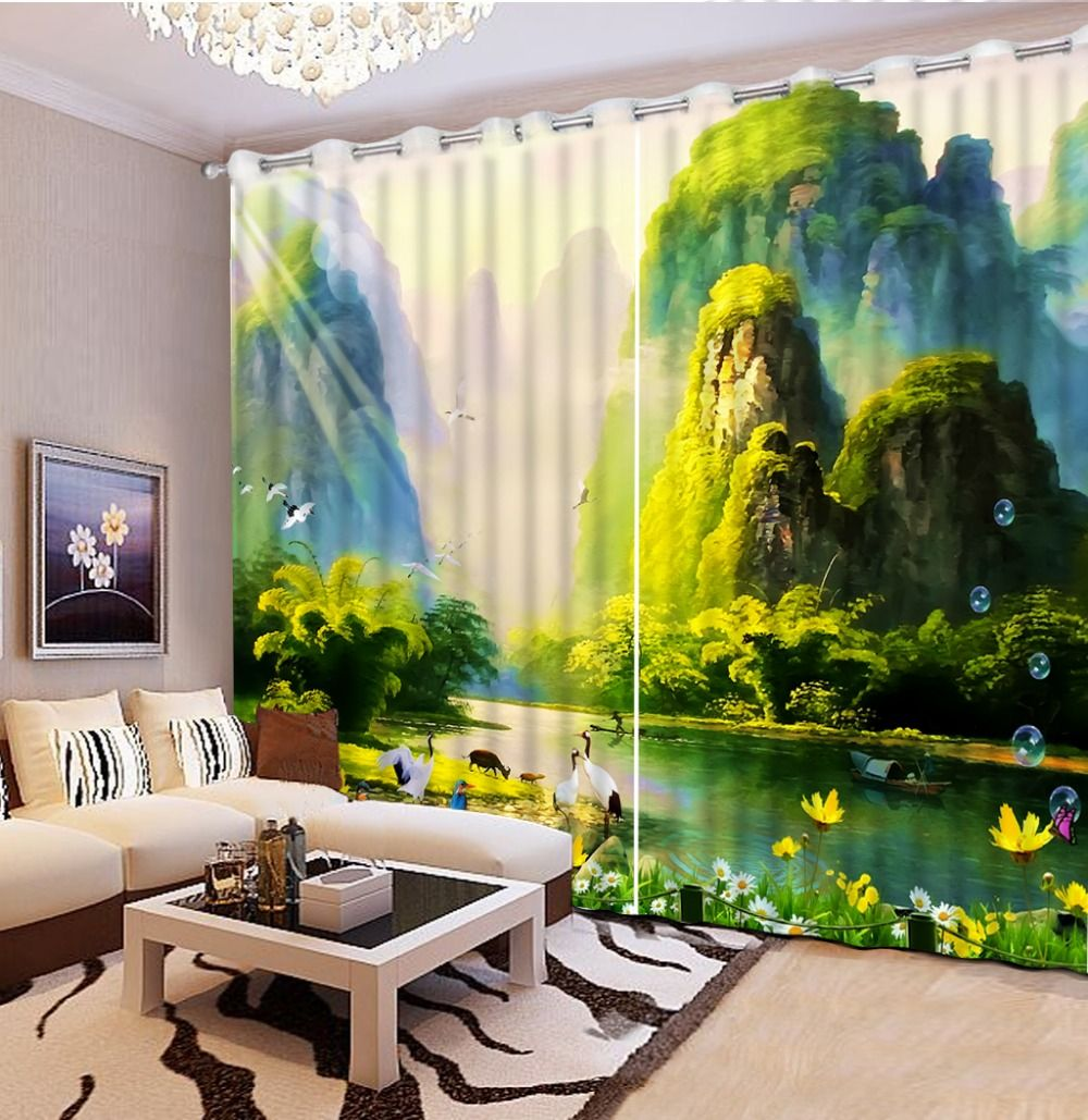 custom 3d curtains Sun Crane Landscape curtains for bedroom kitchen window  curtains luxury living room curtains