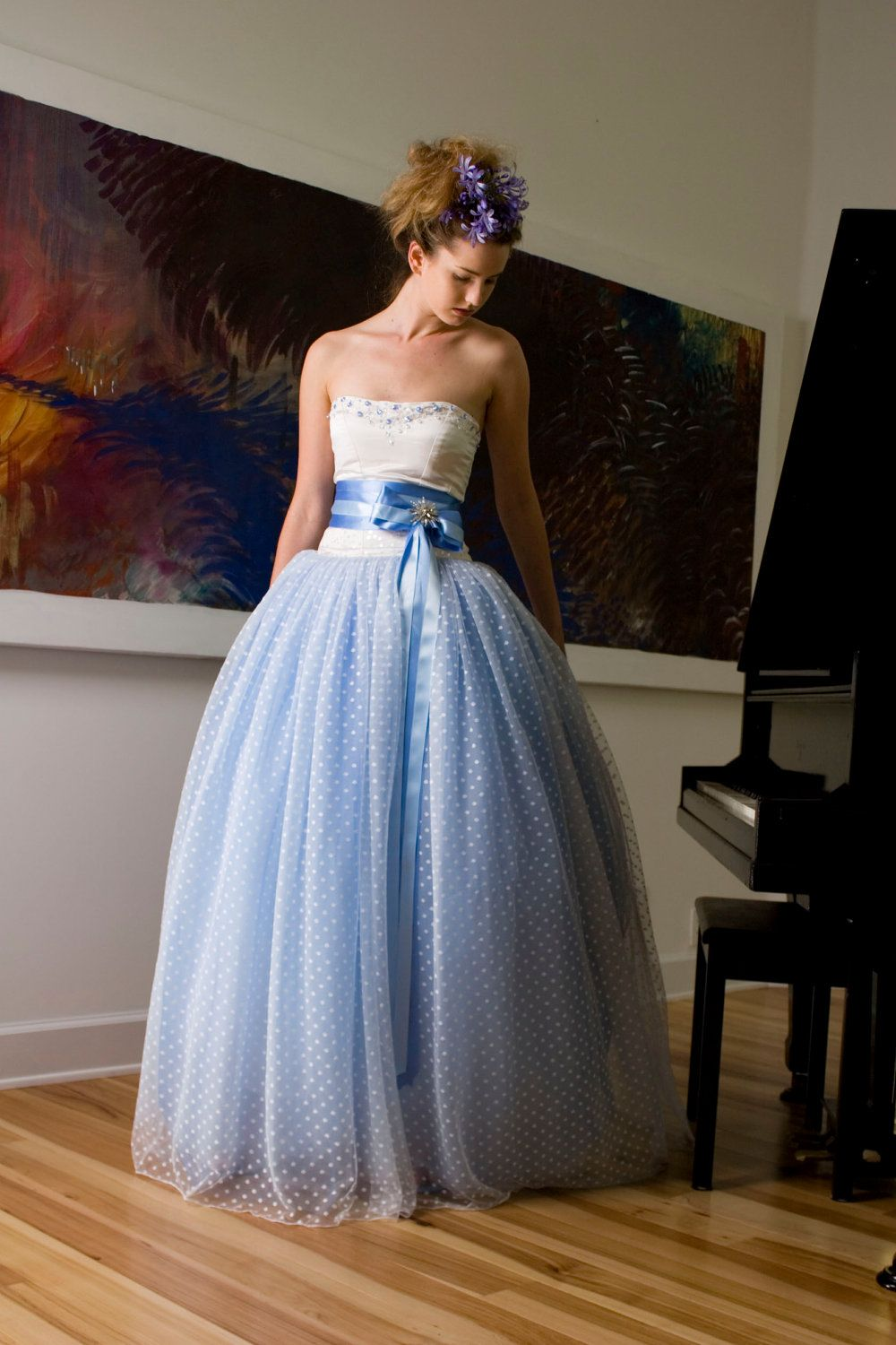Something blue bridal ball gown strapless white silk satin bodice