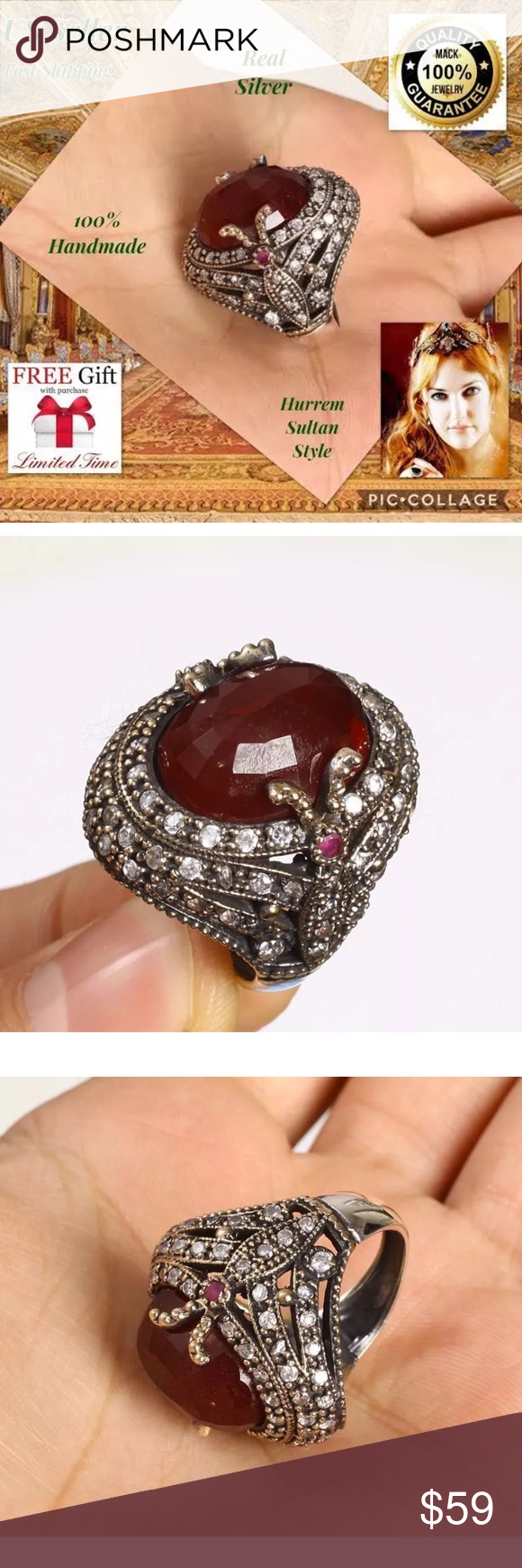 925K STERLING Silver ruby RING TURKISH HANDMADE 7 925K