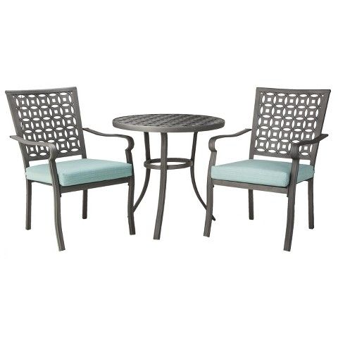 Exceptional Threshold™ Hawthorne 3 Piece Metal Patio Bistro Furniture Set   Blue