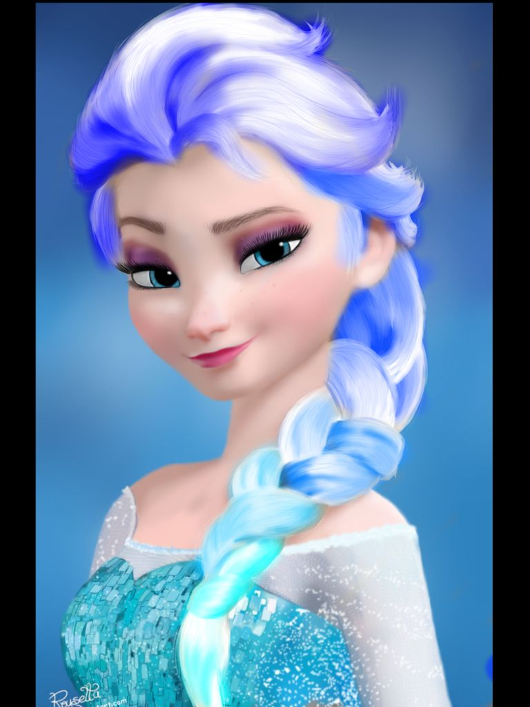 blue hair elsa disney princess