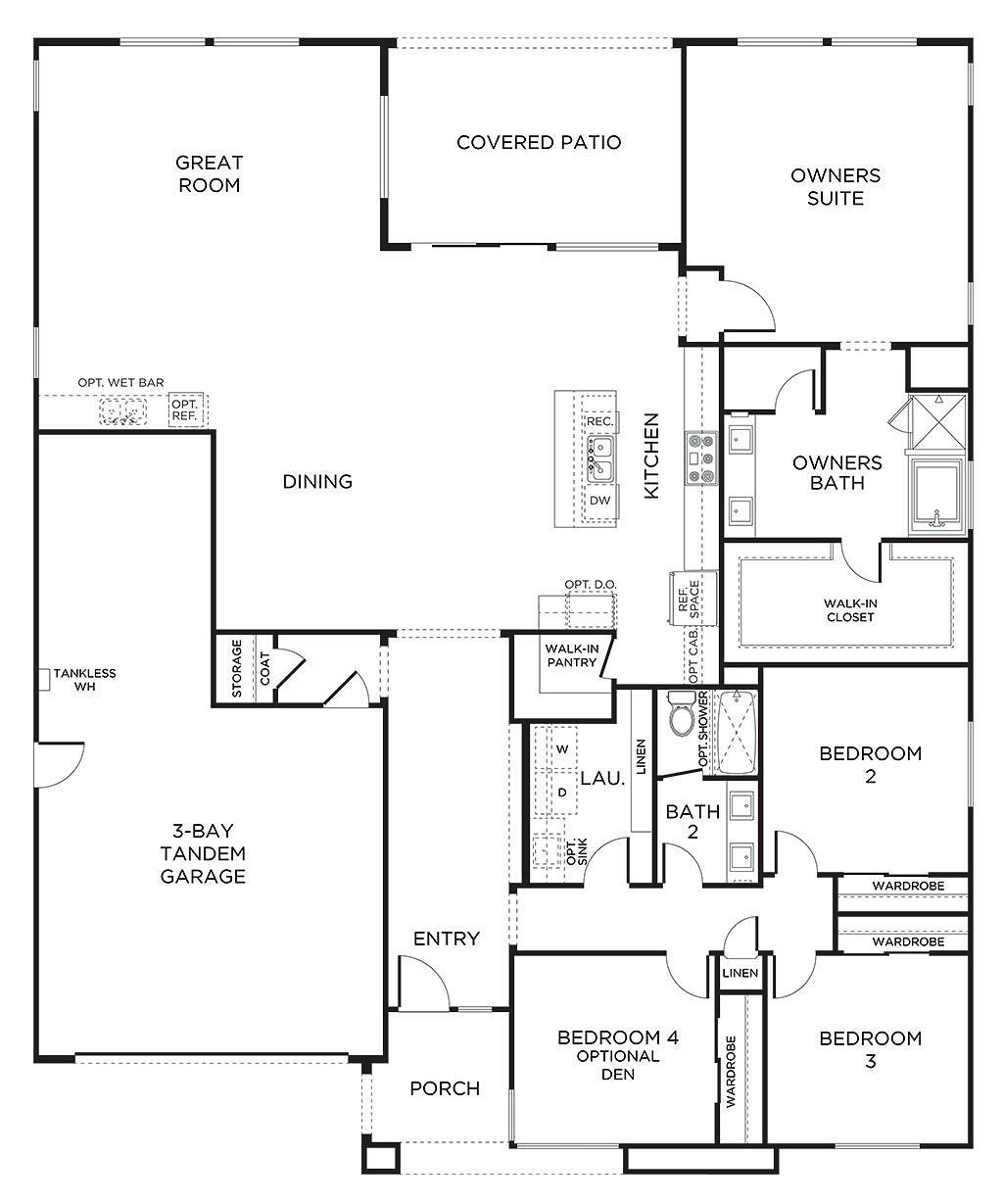 Plan 1 Pardee Homes Garage House Plans House Floor Plans Tandem Garage