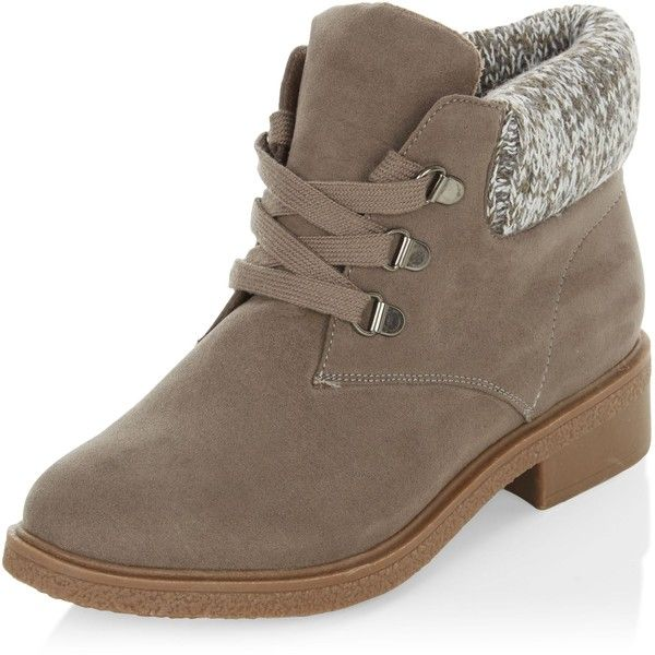 4438aed519fb6 ... Teens Grey Suedette Knitted Cuff Ankle Boots ($18) ❤ liked on Polyvore  featuring shoes, boots, ankle booties, grey, ankle boots, grey boots, lace- up ...