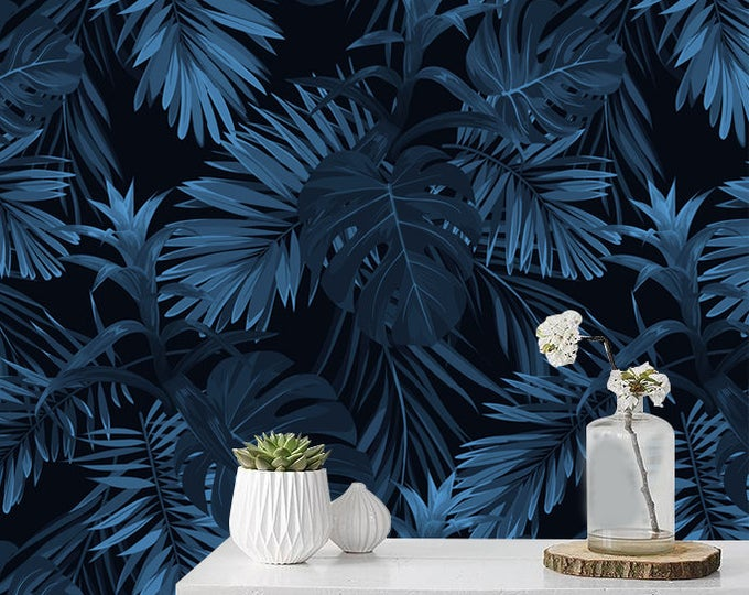 Wallpaper With Monstera Leaves Pattern Removable Wallpaper Etsy Floral Wallpaper Removable Wallpaper Monstera Leaf