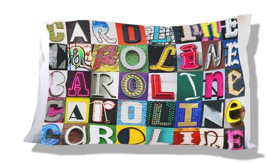 Personalized Pillow Case featuring CAROLINE in sign letters; Custom pillow cases; Teen bedroom decor
