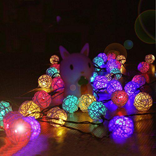 Solar String Lights 20ft 30 LED Novelty Rattan Ball Waterproof