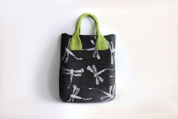 Libelle Gefilzte Merino wolle schwarz Tasche Laptop Handtasche mit grasgrün behandeln Tiere Dekor - versandbereit
