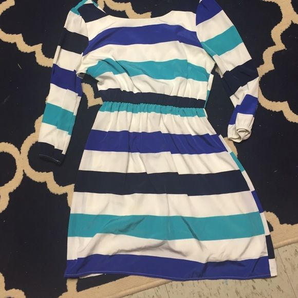 Dress 100% polyester. White, navy and turquoise striped dress Dresses Midi