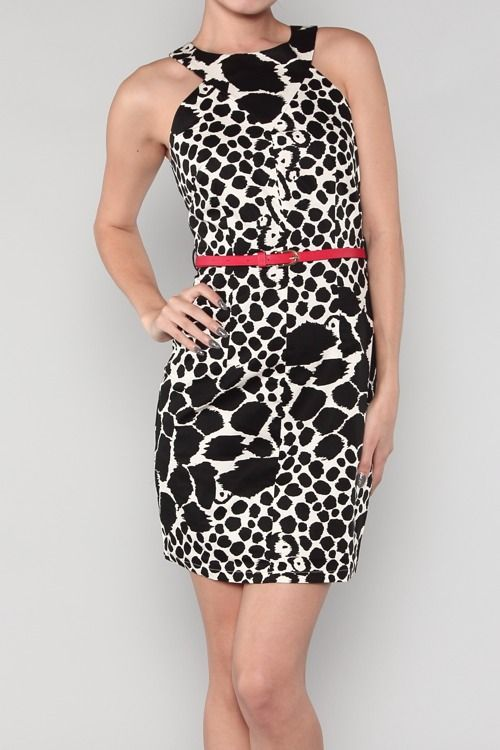 Fitted Black and White Print Dress with Red Skinny Belt