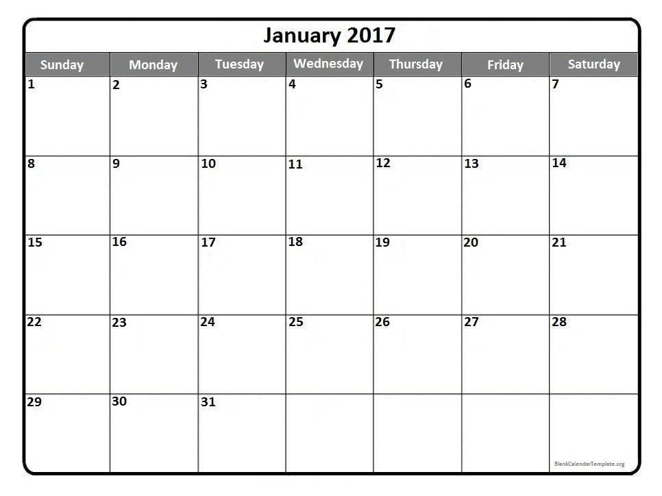January 2017 printable calendar template Printable calendars - printable monthly calendar sample