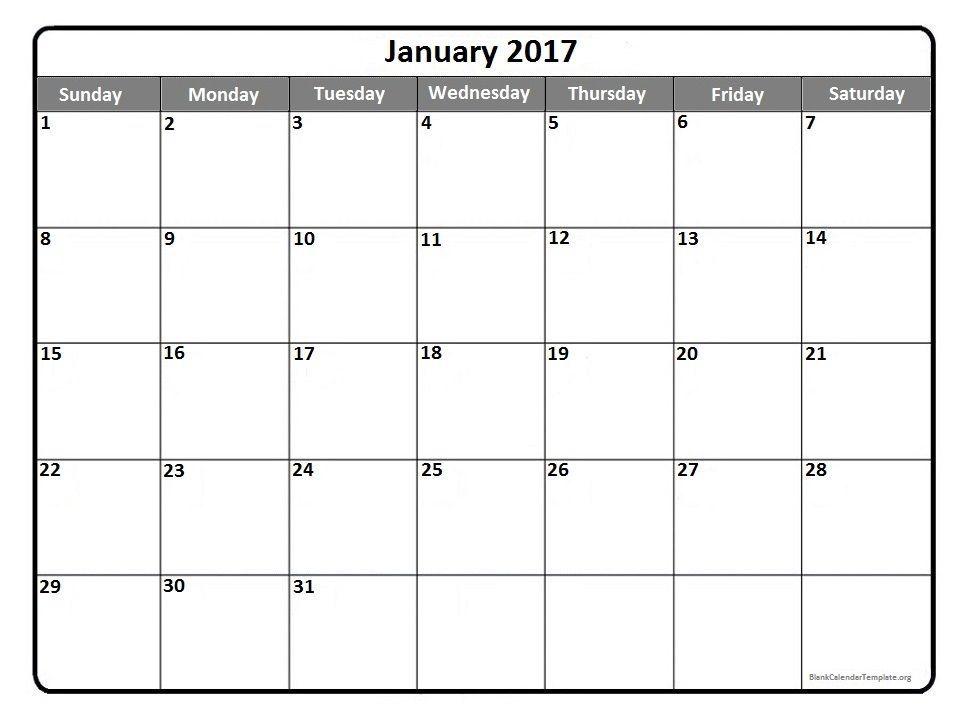 Printable January 2017 Calendar – Printable Editable Blank ...