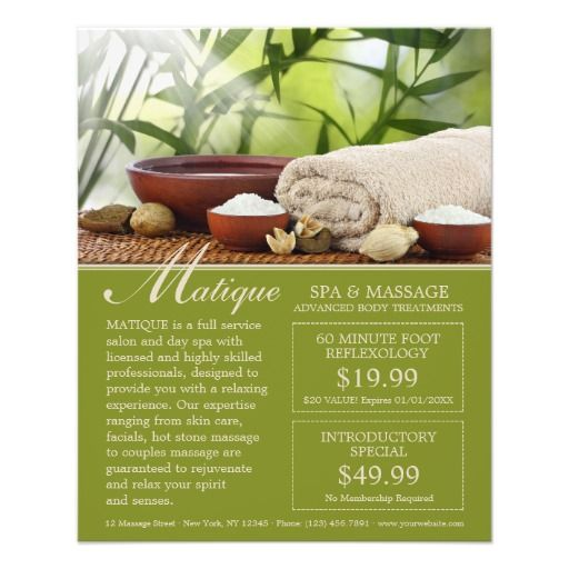 Spa Menu Of Services Flyer With Coupons Template