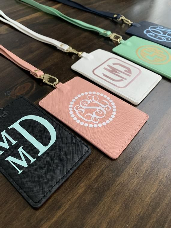 Monogrammed Lanyard With Id Holder Veritcal Faux Leather Etsy Personalized Card Holder Custom Badges Badge Holders