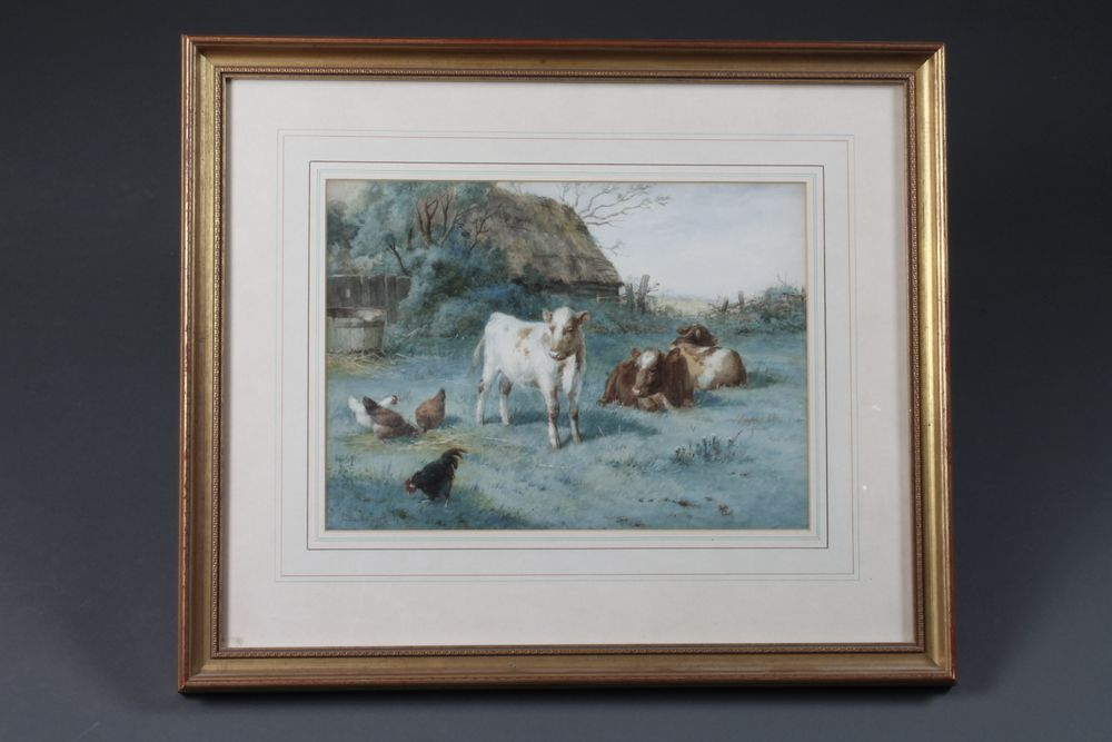 """Claude Cardon, fl.1892-1920, watercolour on paper A Corner  of the Farmyard study of cows and chickens amongst a rural  farmstead, signed, 10""""h x 14""""w"""
