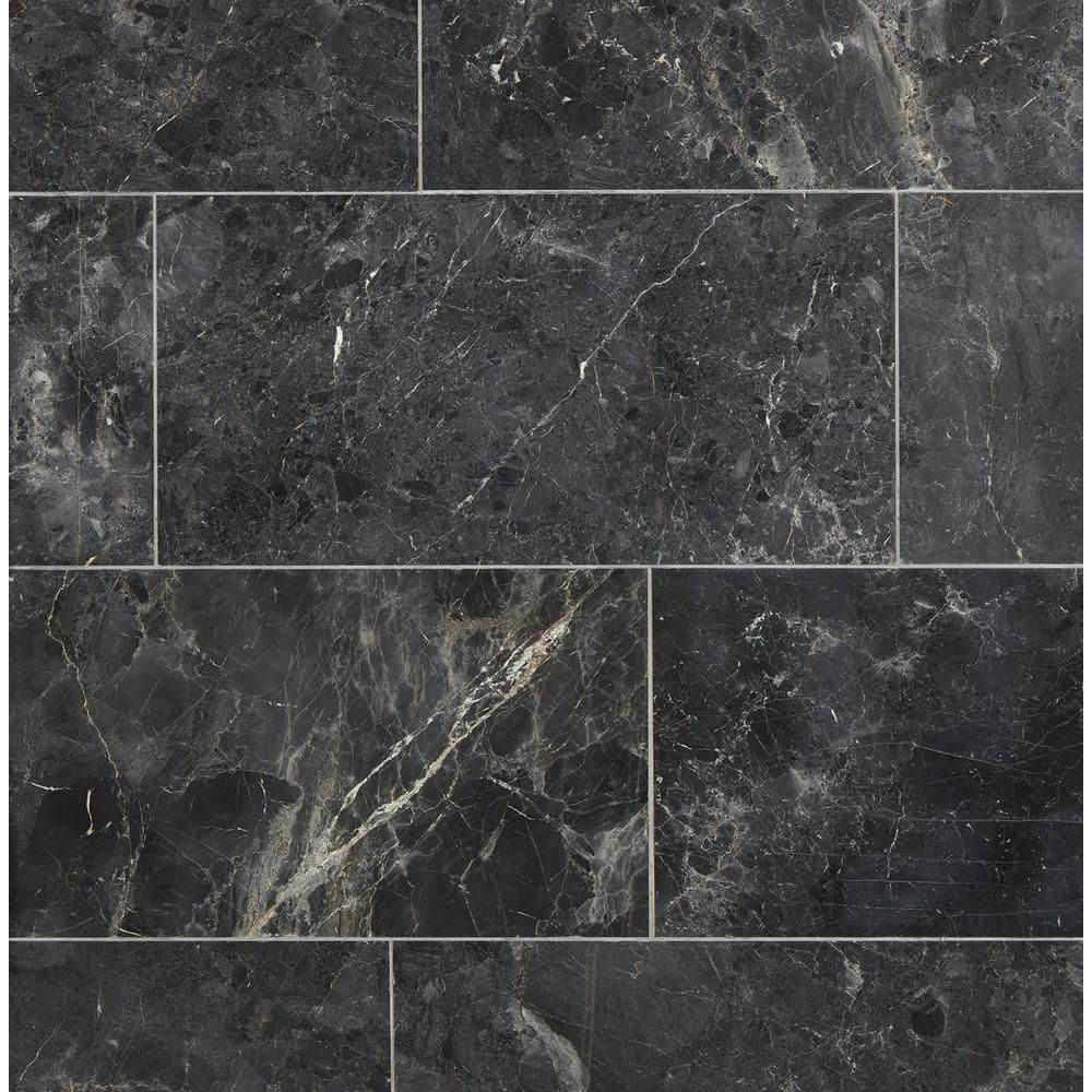Silver Black Polished Marble Tile 12 X 24 100434711 Floor And Decor In 2020 Polished Marble Tiles Black Marble Bathroom Black Marble Tile