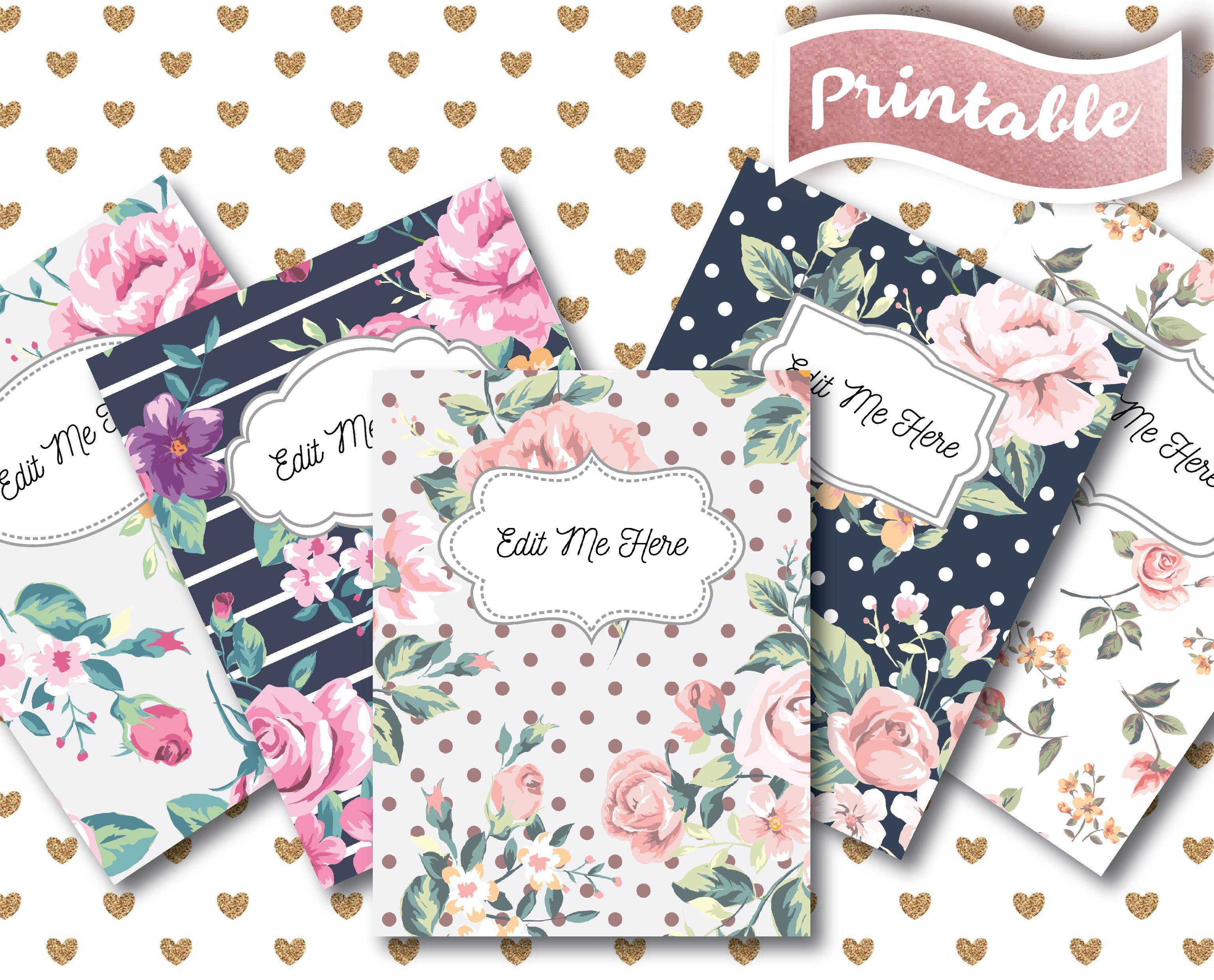 flower binder cover      florals      teacher binder      cover
