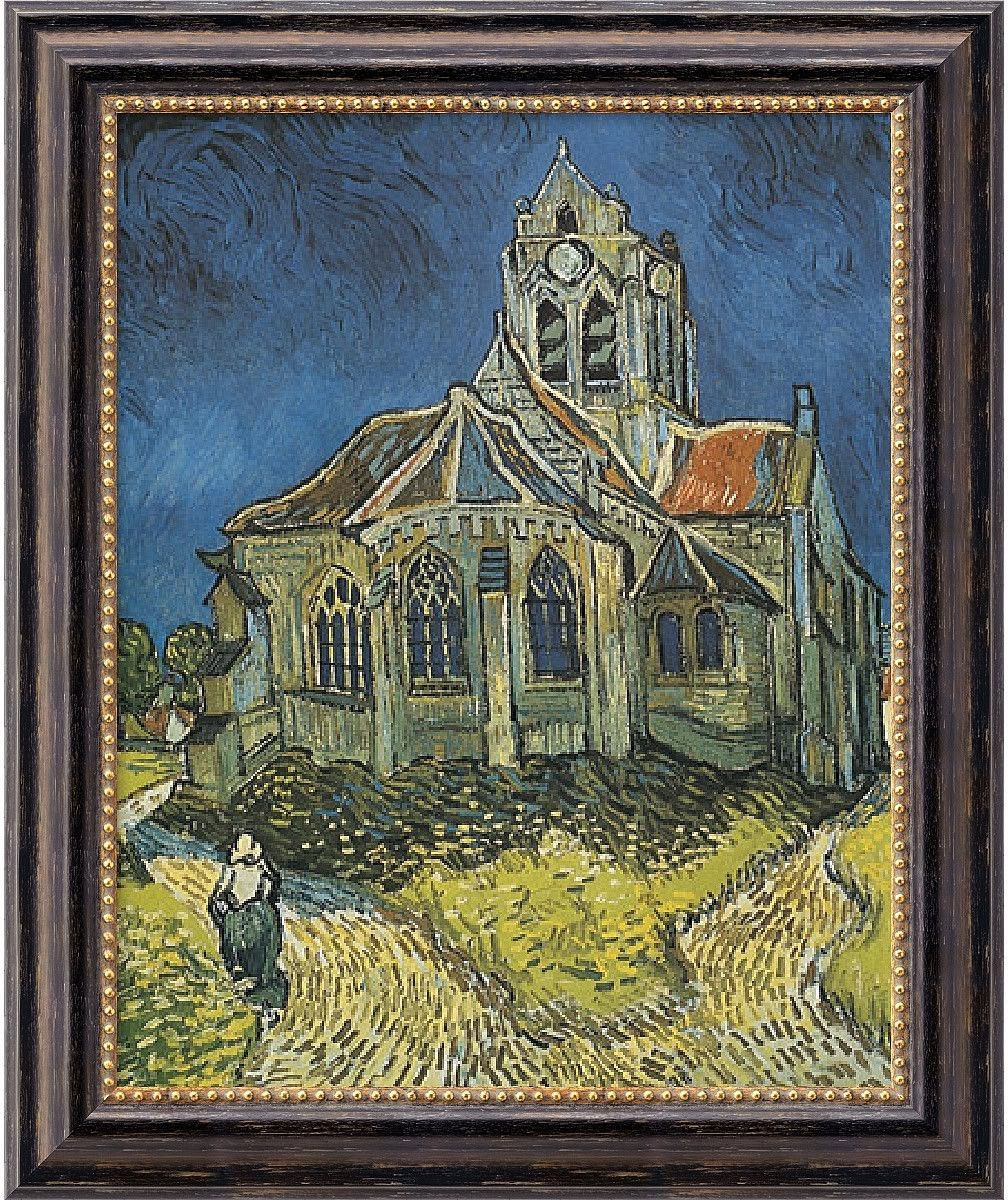 20x24 inch Vincent Van Gogh Church at Auvers Framed Art Canvas Canvas