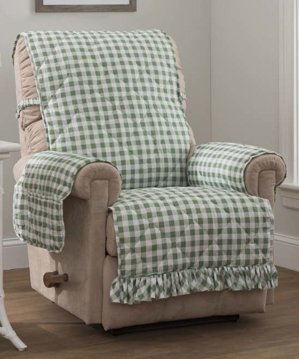 Take a look at this Sage Gingham Recliner/Wingback