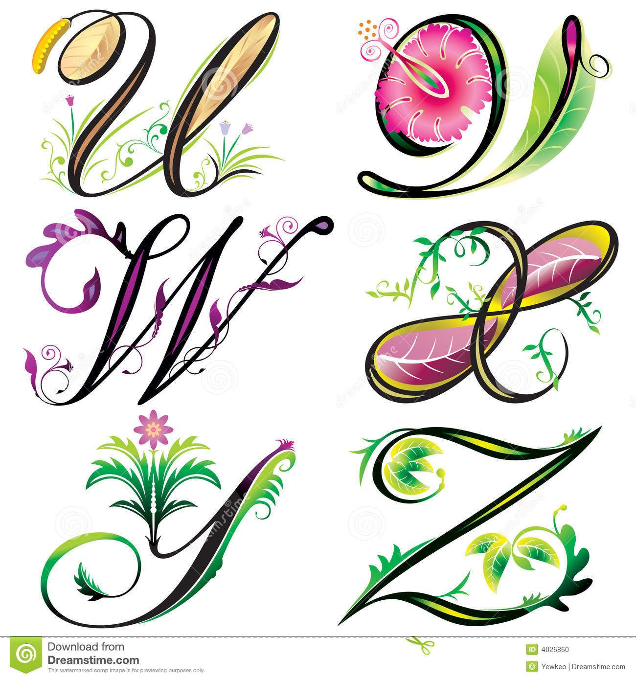 Alphabets Elements Design Series U To Z Download From Over 44