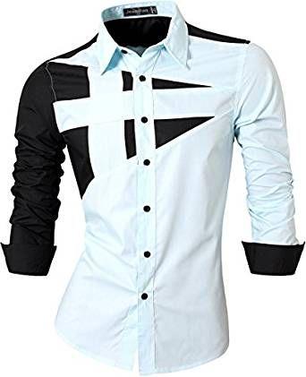 jeansian Uomo Camicie Maniche Lunghe Moda Men Shirts Slim Fit Casual Long Sleves Fashion 8397 LightBlue M