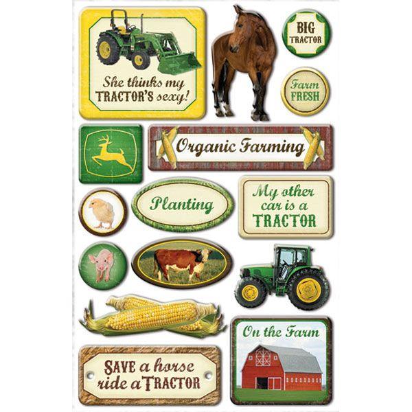 John Deere Farm Epoxy Scrapbook Stickers Ci25602 Kid Zone