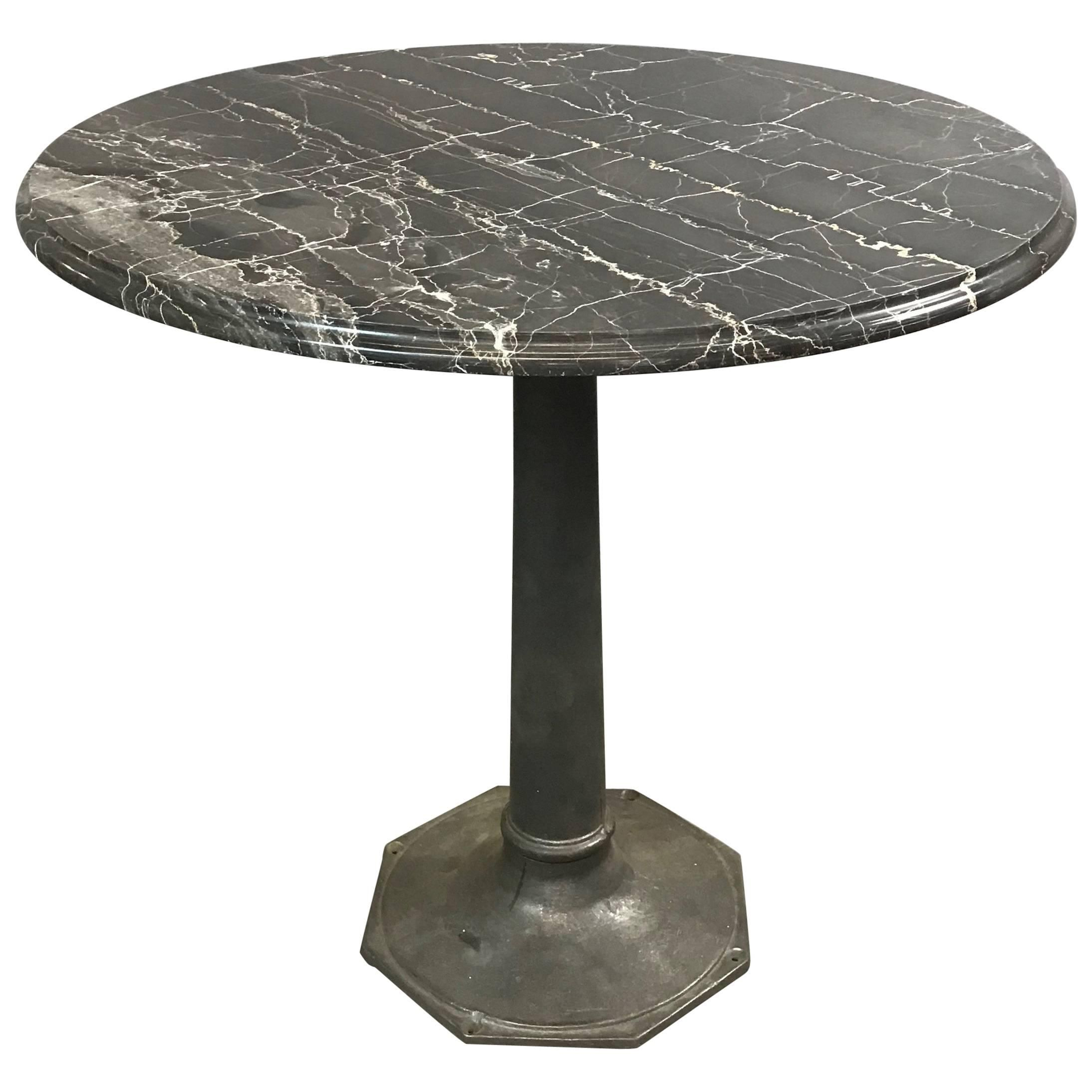 Industrial Black Marble Cast Iron Pedestal Café Bristro Dining Table For Sale at 1stdibs (With ...