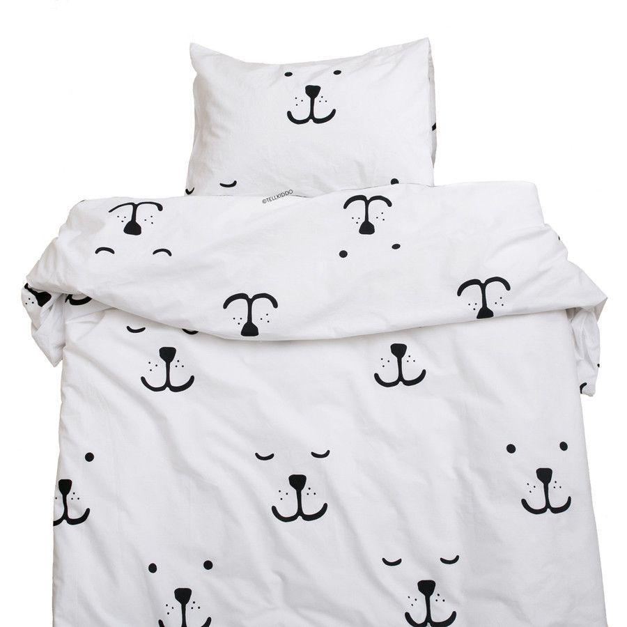 Tellkiddo Toddler Duvet Cover Pillow Case White Black Bear Face