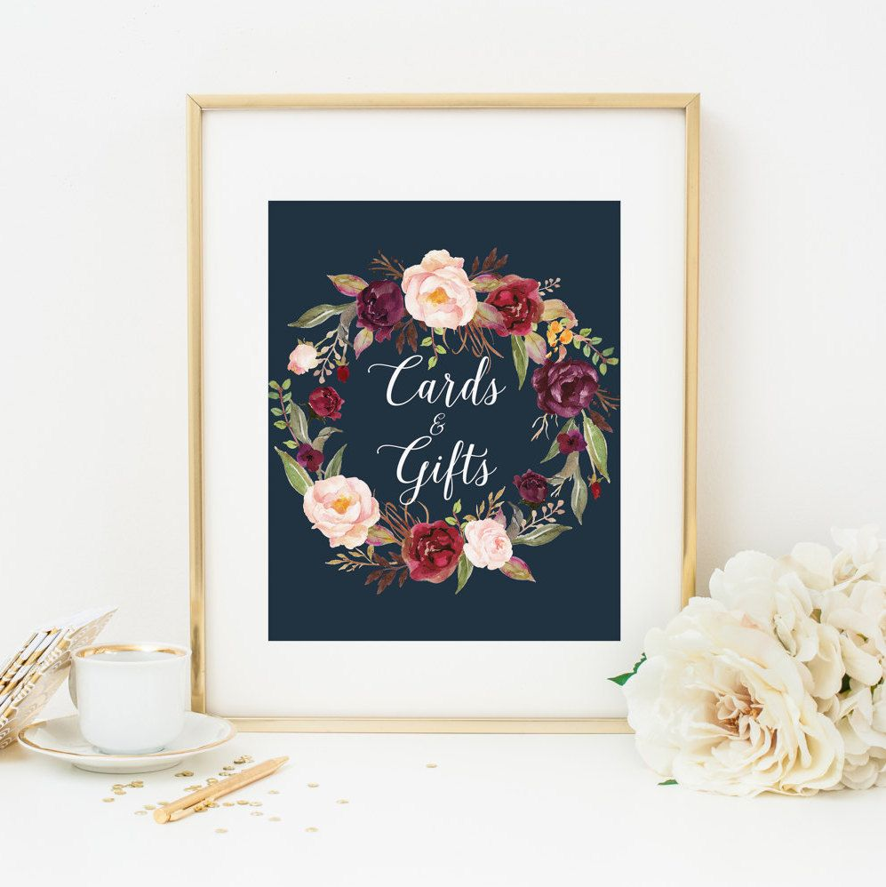 Wedding Gift Table Ideas: Burgundy Floral Cards And Gifts Table Sign Printable Navy