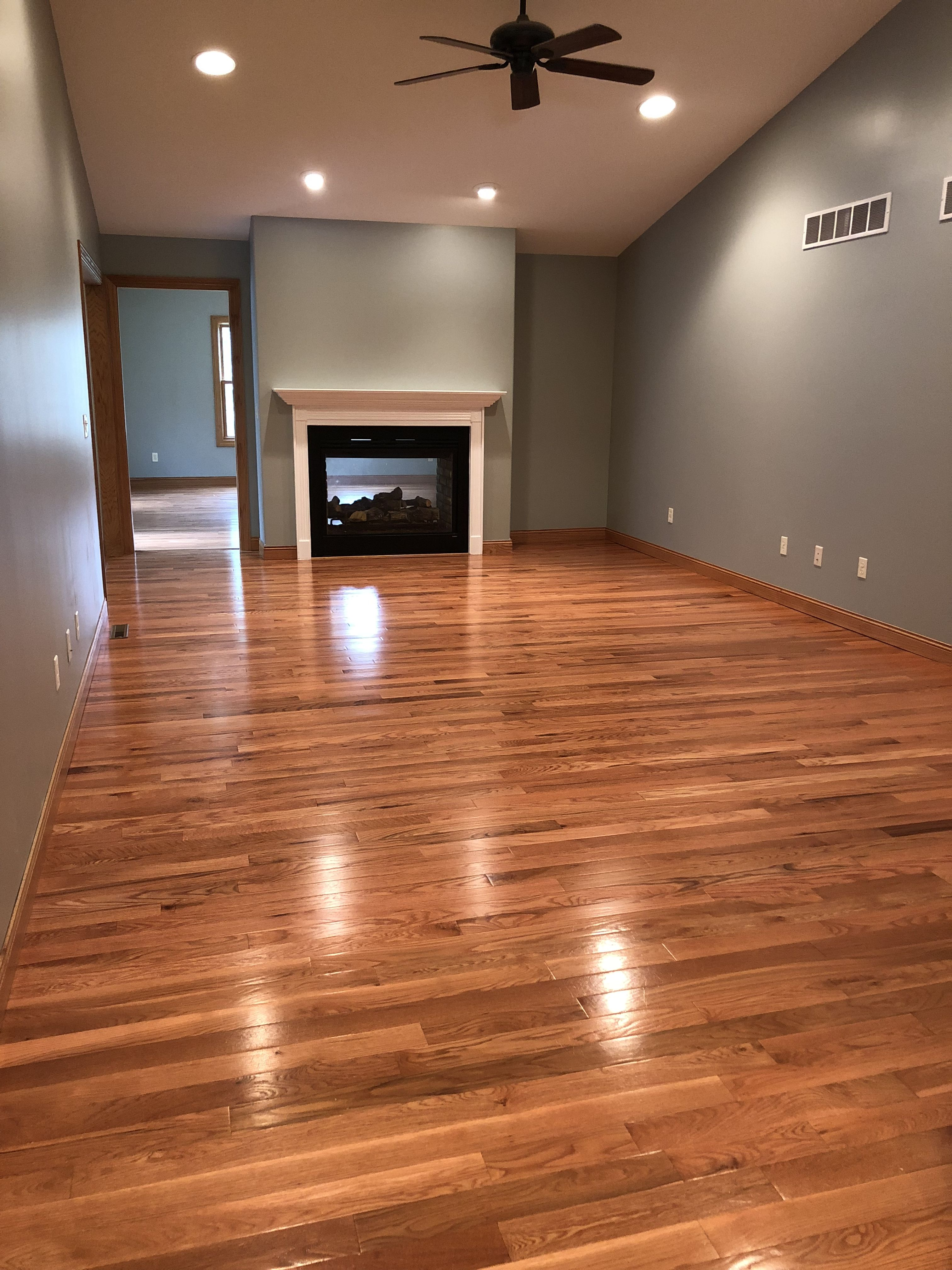 Behr Weathered Moss Honey Oak hardwood floors. Hardwood