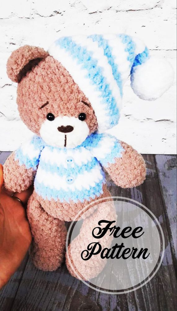 Free Pattern to Awesome Teddy Bear Crochet Amigurumi - Free Amigurumi Pattern, Amigurumi Blog! #crochetbear