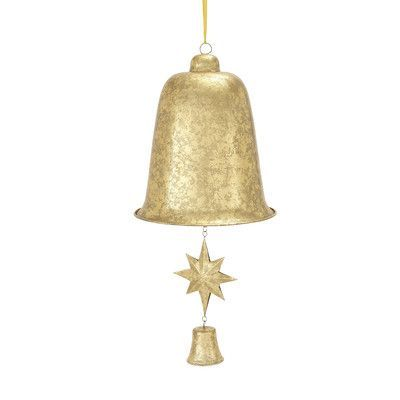 Woodland Imports Decorative Christmas Bell with Star and Bell Clapper Color: