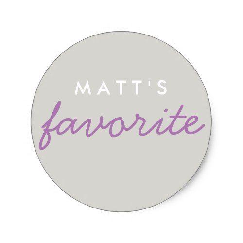 Personalized favorite lavender purple gray grey classic round sticker