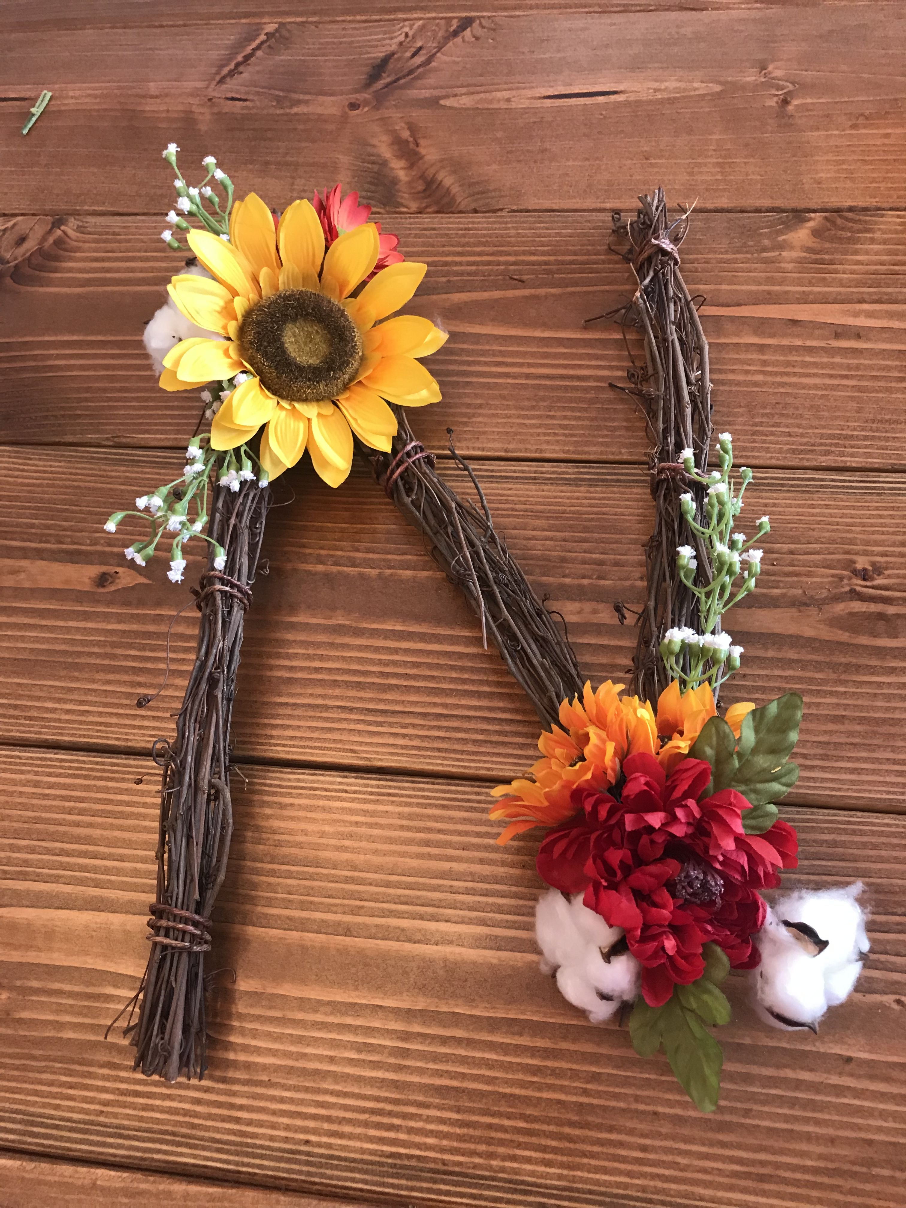 Diy Twig Letters For Nursery All Supplies From Michaels Stores 1 Bundle Of Twigs And Whatever Fake Flowers You Want Mak Fake Flowers Twig Art Creative Area
