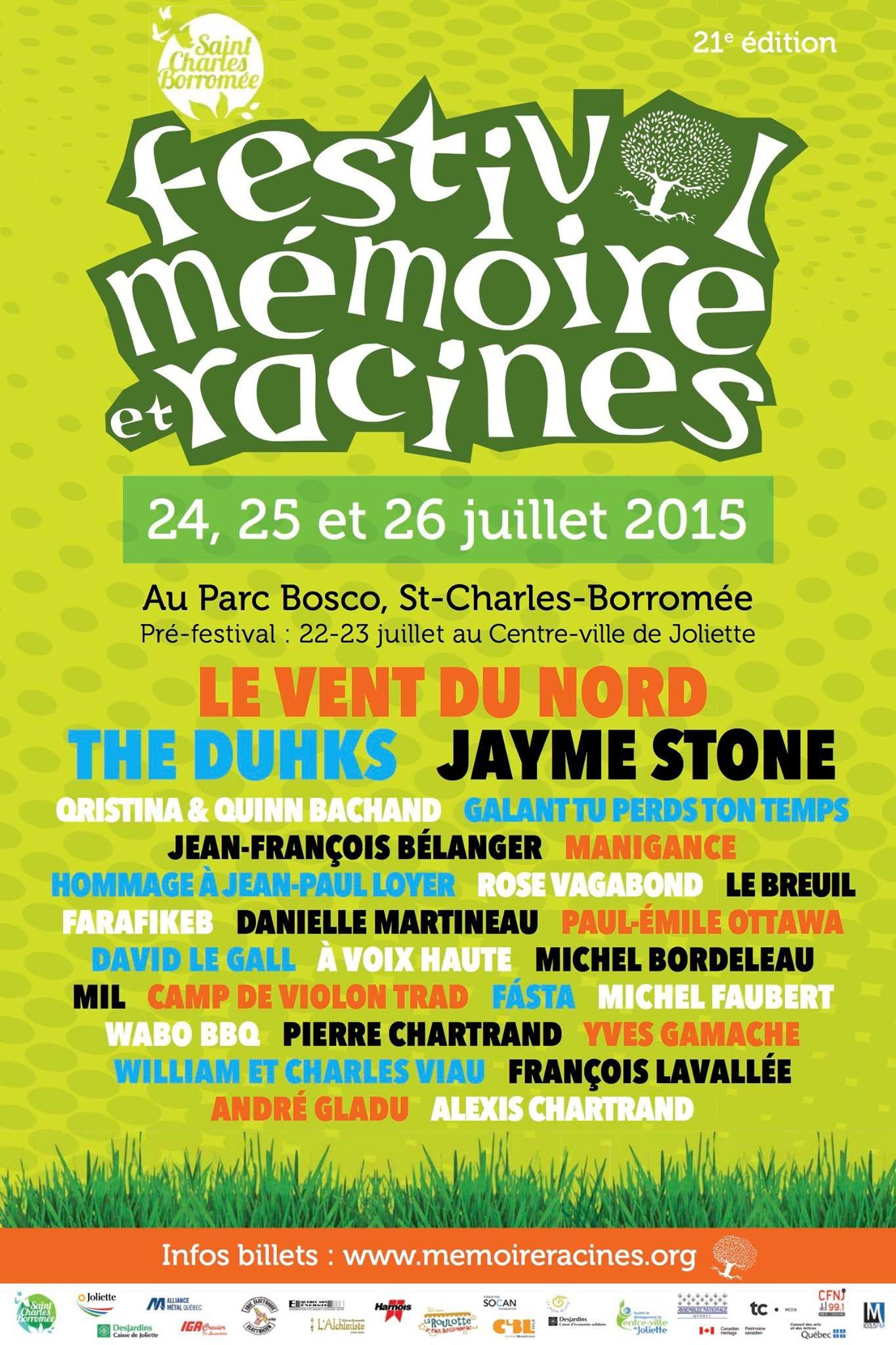 Affiche 2015 du festival Mémoire et Racines, un festival extraordinaire de musique folk et traditionnelle, de danse et de contes.