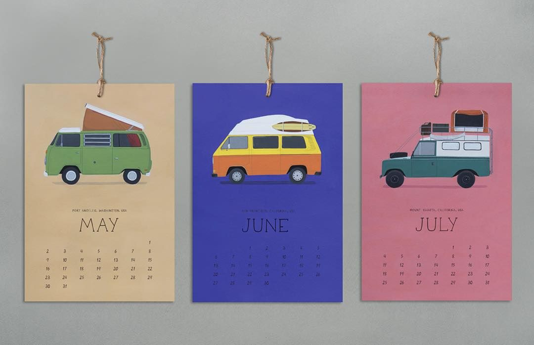 Thank you very much to every one of you who has helped us make the #vanlife calendar real! You still have four days to order a calendar postcards or an original painting on our Kickstarter. 14 illustrations that @vanlifeillustrated has been painting on the road! Link on our bio. . #homeiswhereyouparkit #illustration #calendar #vintagecamper #campervan #adventuremobile #slowwideturns #vanlifediaries #kickstarter #drawing by foreign__natives
