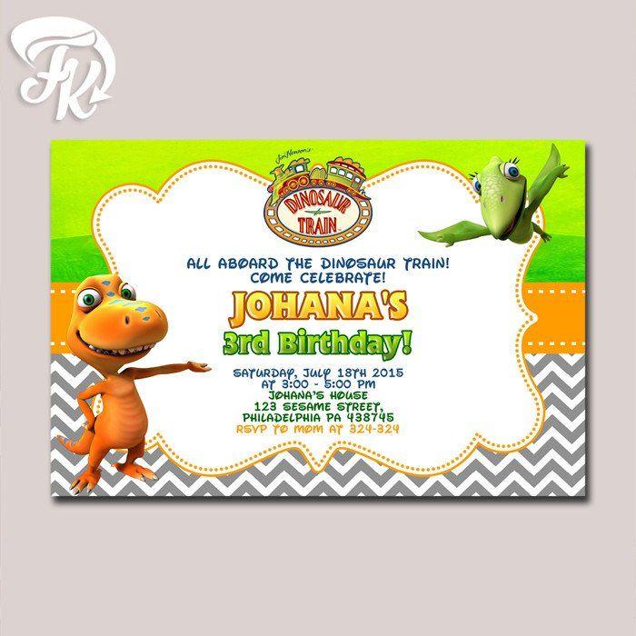 dinosaur train birthday party card digital invitation birthday, Birthday invitations