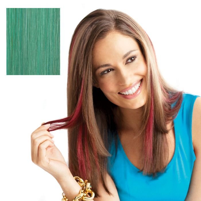 Pop Put On Pieces Human Hair Clip In Color Strip Teal Beauty