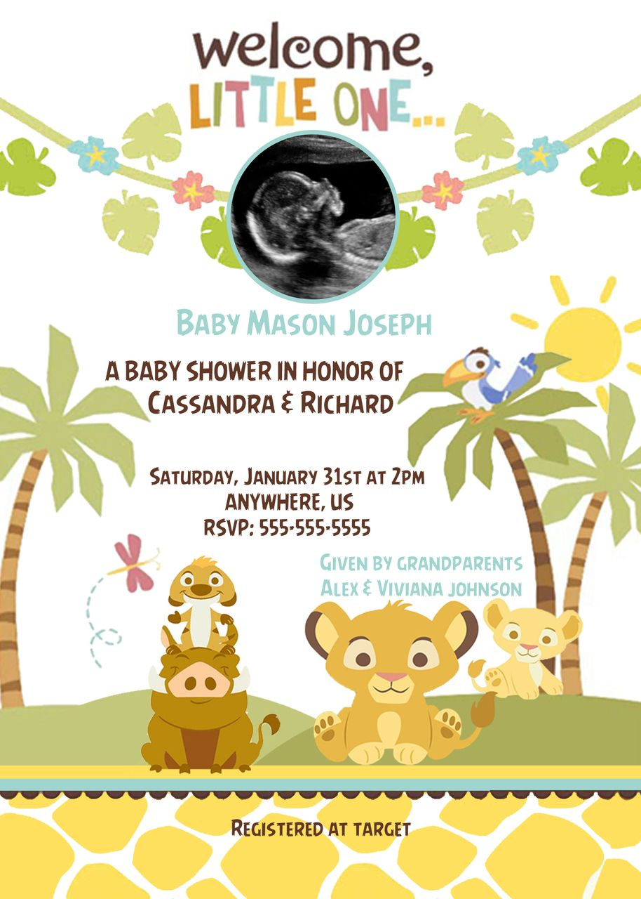 Simba Lion King Shower Ultrasound Invitations - Baby Shower Custom ...
