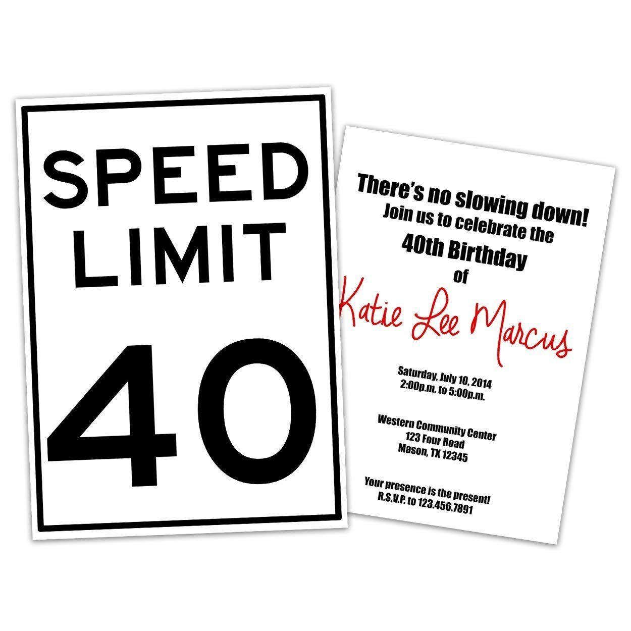 funny speed limit birthday invitations