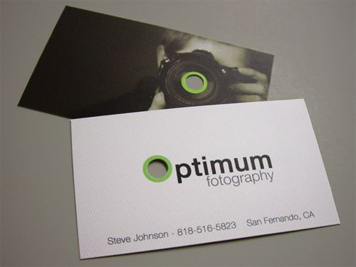 Nice business card design that makes use of a die-cut on both sides of the card. Draws attention to both the image and logo... great branding.