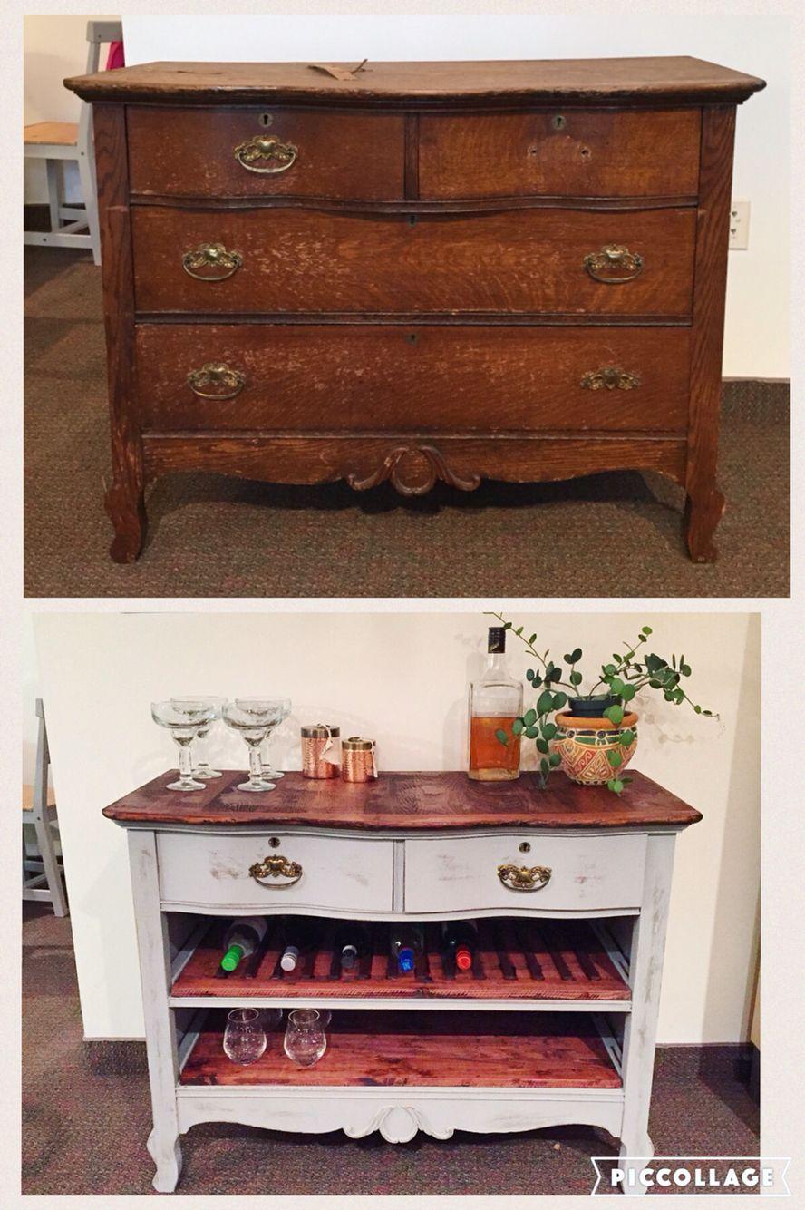 Antique Dresser To Wine Bar Diy