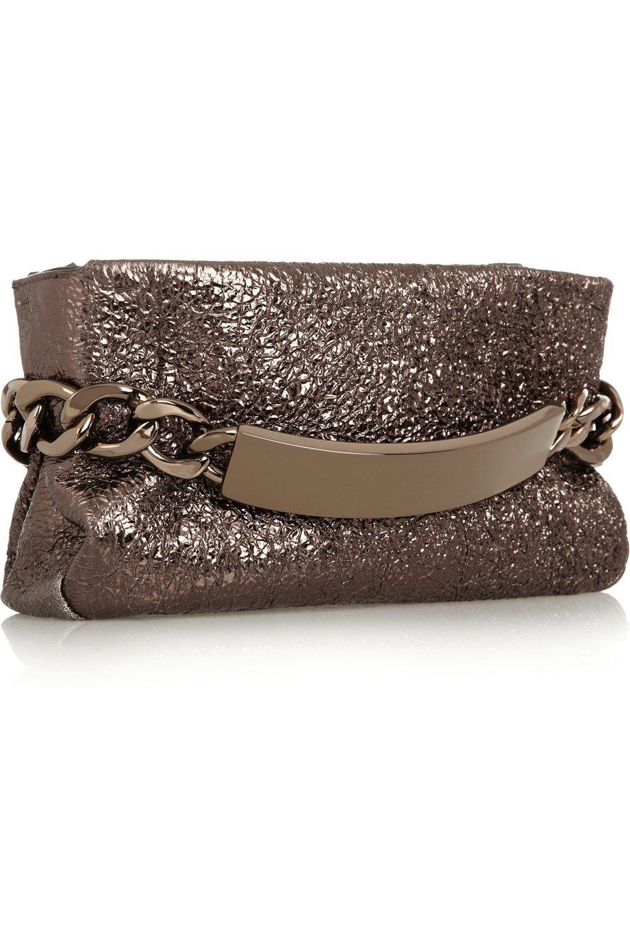 74d26fbdba8 Maison Martin Margiela | Chain-embellished metallic crinkled-leather ...