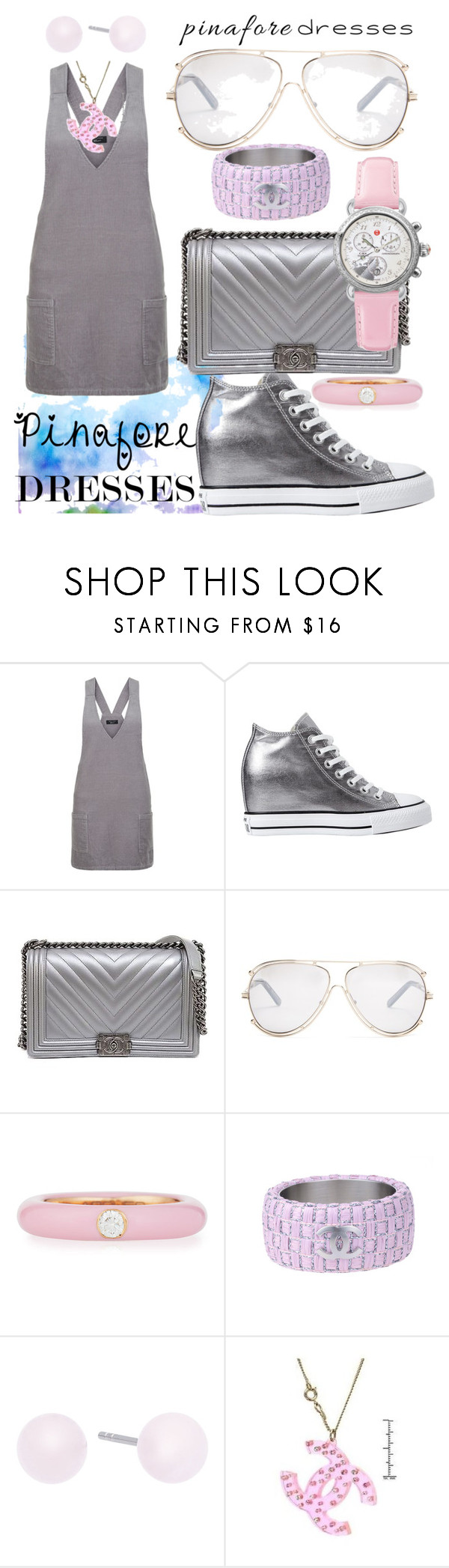 """""""City Walker Pinafore"""" by bvn01 ❤ liked on Polyvore featuring New Look, Converse, Chanel, Chloé, Adolfo Courrier, Michael Kors, Michele, pinafores and 60secondstyle"""