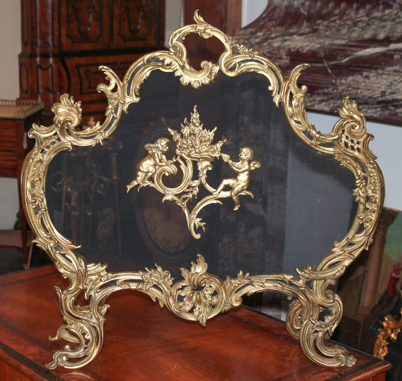 19th C French Gilt Bronze Fire Screen Modern Fireplace Tools