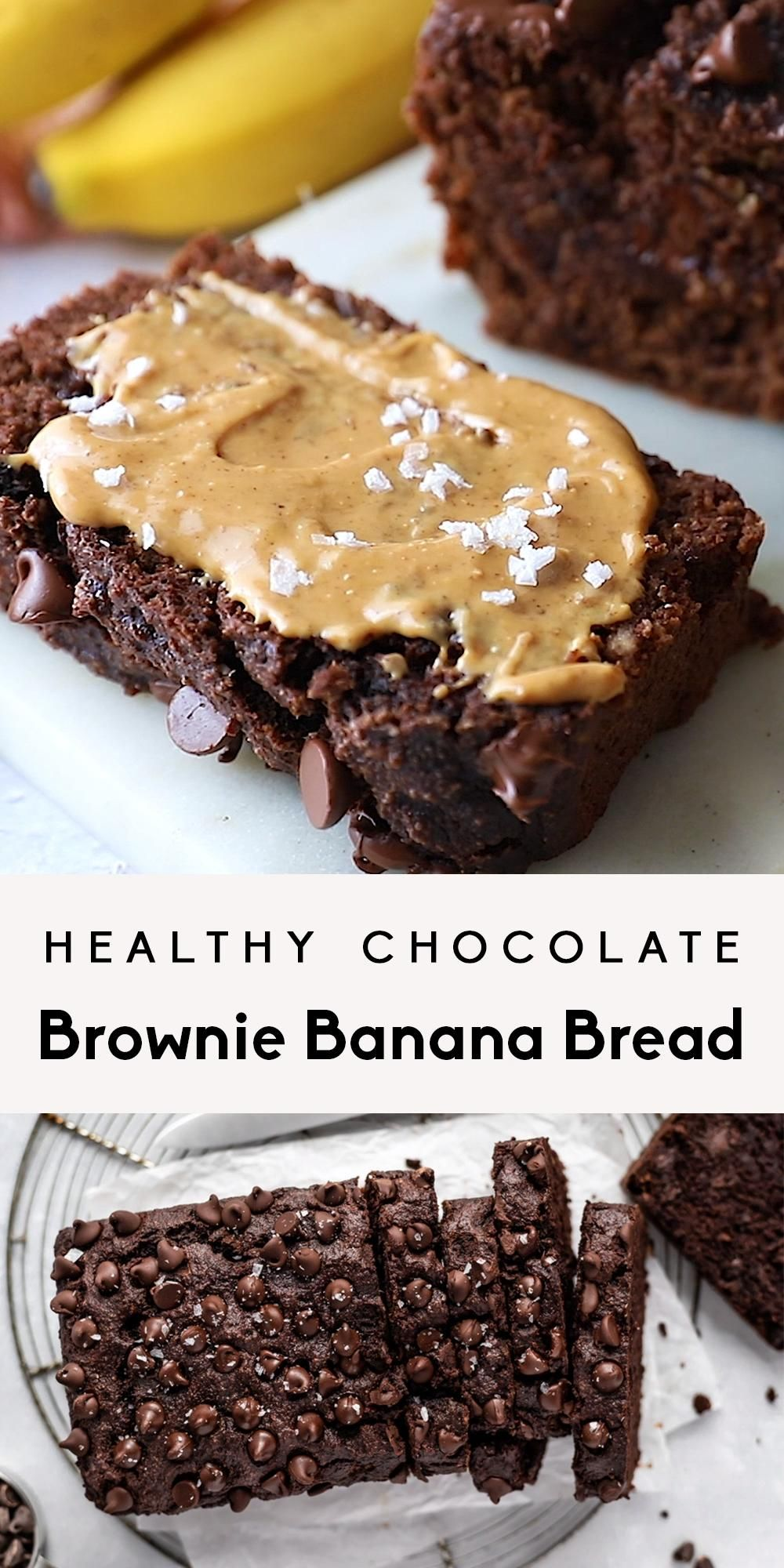 Healthy Chocolate Brownie Banana Bread