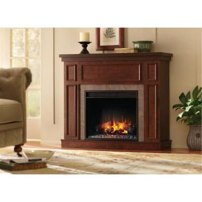 Home Decorators Collection Granville 43 In Convertible Electric Fireplace In Antique Cherry With Faux Sto Electric Fireplace Best Electric Fireplace Fireplace