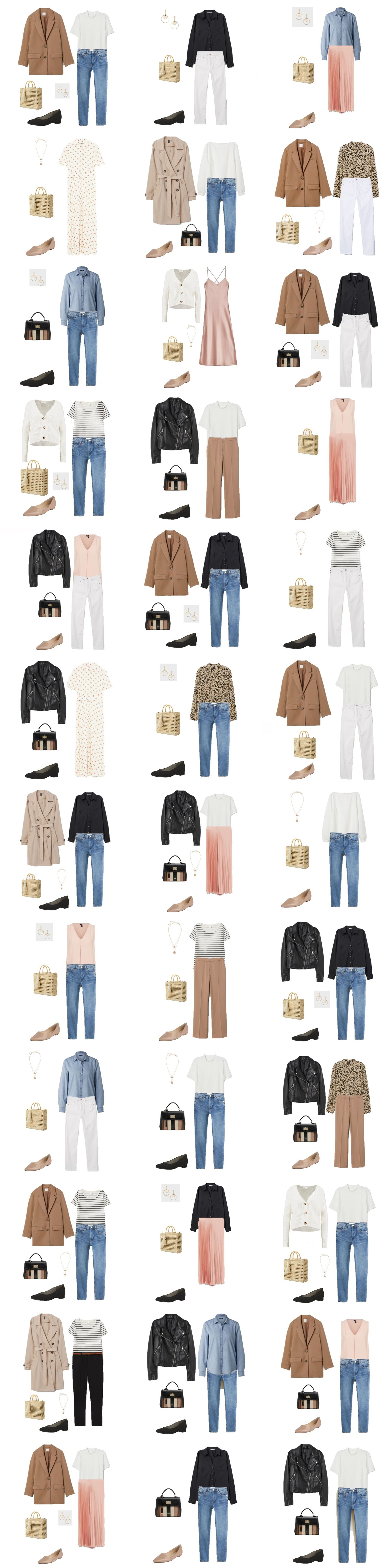 Spring Capsule Wardrobe 2019 – Frauentrend. Wochentag / Casual Date Outfit Optionen …